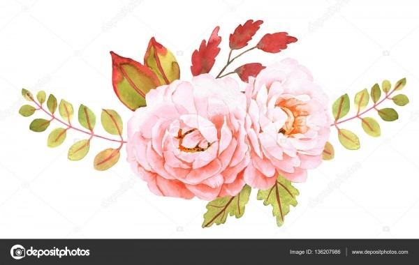 Buquê de flores  composição decorativa para convite de casamento