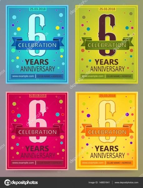 Modelos de vetores de aniversário panfletos ou convites  6  seis