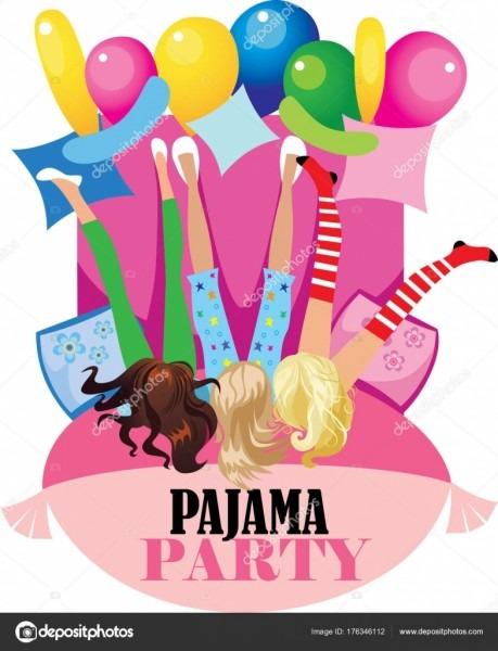 Festa pijama engraçado girs poster desenho vetorial para festa