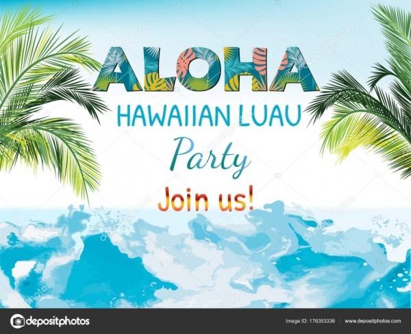 Aloha, convite modelo festa havaiana — vetores de stock © artlu
