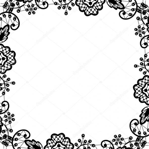 Renda preta sobre fundo branco — vetor de stock © prikhnenko  53400645