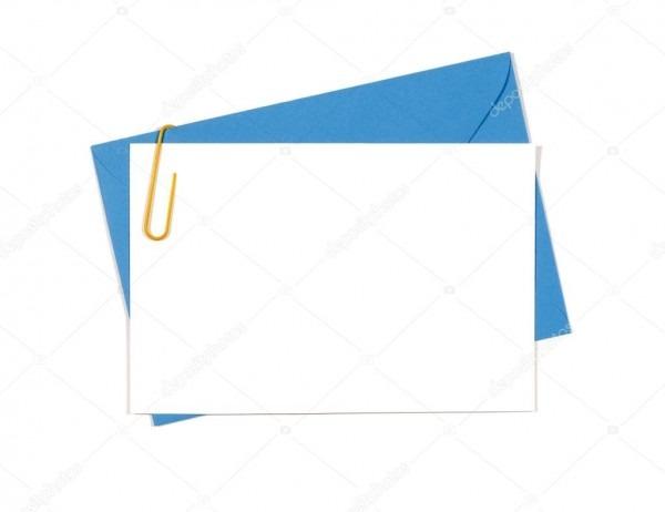 Cartão de mensagem ou convite em branco com envelope azul — stock