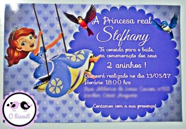 O biscuit  convite princesa sofia