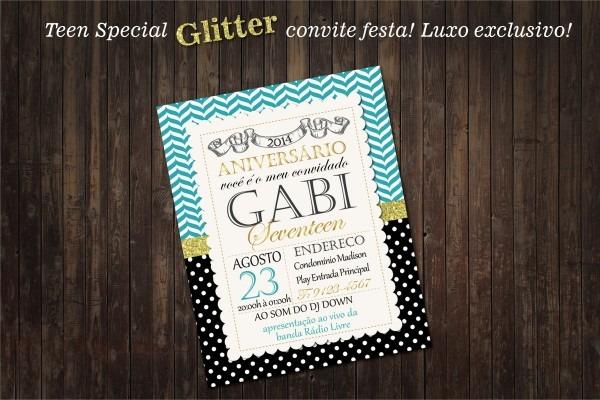 Festa teen convite personalizado glitter no elo7