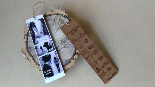 Convite marcador de livro madeira
