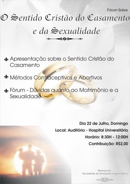 Sociedade apostolado  convite  'o sentido cristão do casamento e