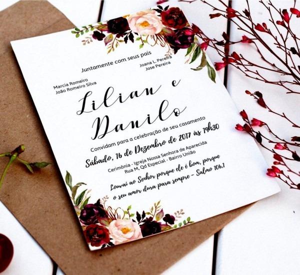 Fotos de convite individual editavel casamento floral digital