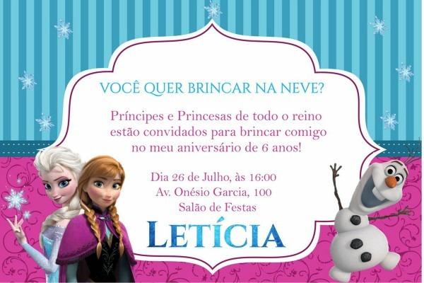 Frozen convite personalizado no elo7