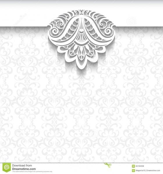 Fundo branco do laço, molde do convite do casamento ilustração do