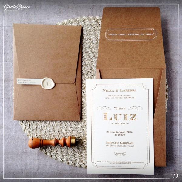 Convite kraft e marfim – giselle branco design e gifts