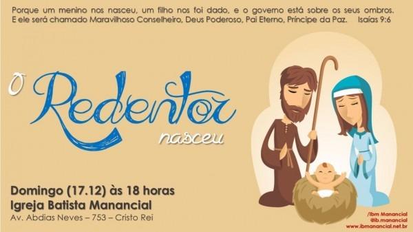 Convite para cantata de natal na igreja batista manancial em teresina