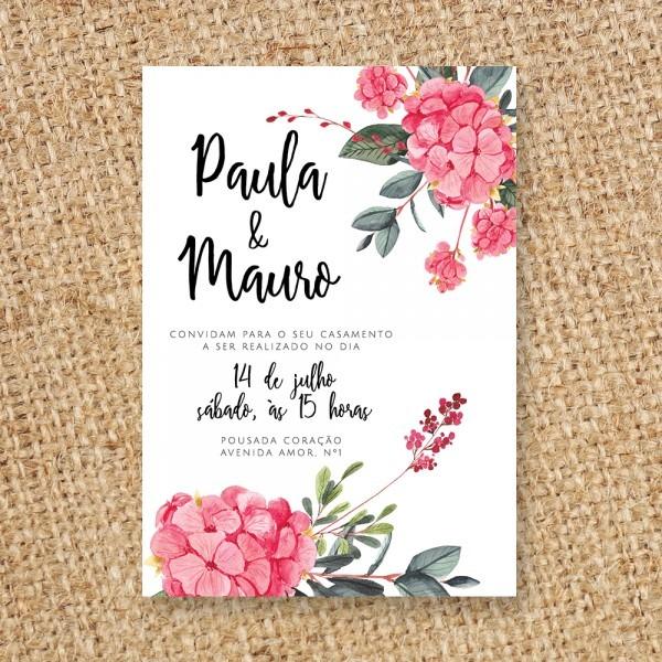 Convite de casamento flor rosa – canto criativo