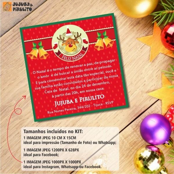 Kit convite digital ceia de natal 001 no elo7