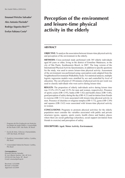 Pdf) perception of the environment and leisure