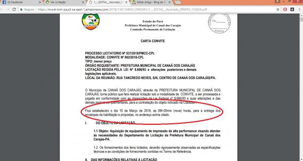 Prefeitura de canaã dos carajás realiza processo de licitação em