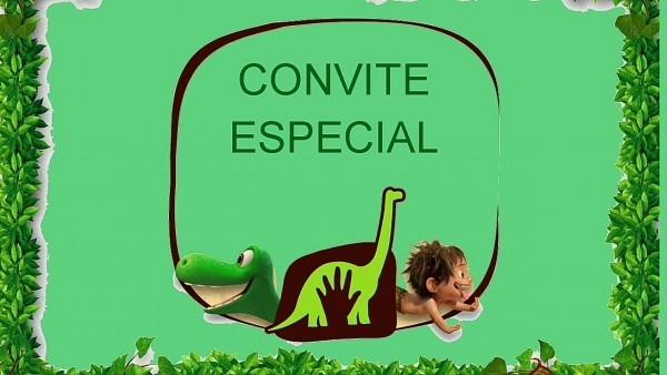 Convite animado o bom dinossauro pronto para baixar e editar