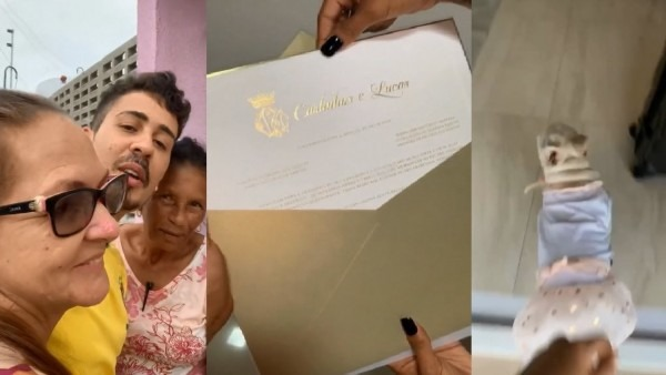 Carlinhos maia entrega convites de casamento
