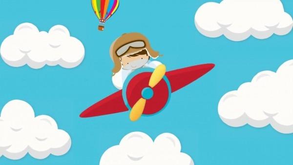 Convite virtual animado menino aviador
