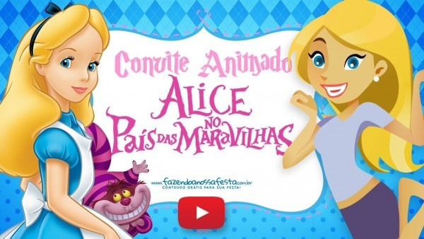 Convite animado virtual alice no país das maravilhas grátis