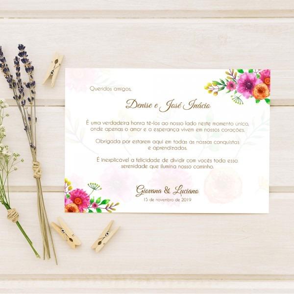 Cartão de mensagem para padrinhos de casamento rosa e laranja