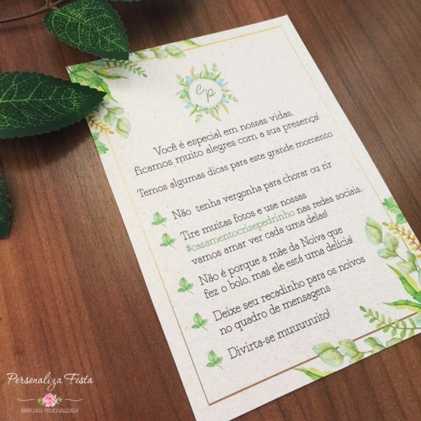 Mensagem para mesa de casamento no elo7