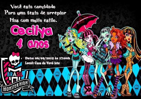 Monster high convite 7x10 promoção