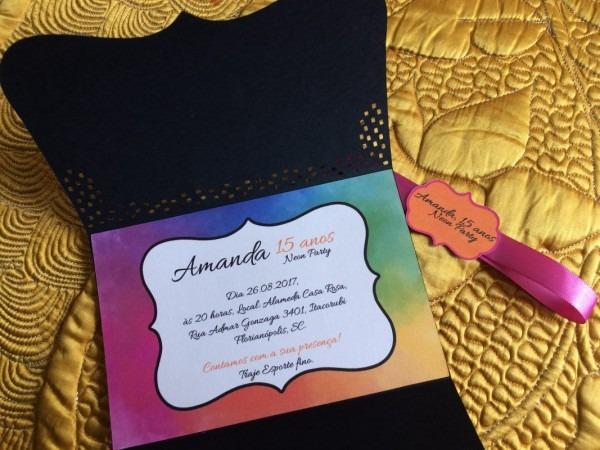 Convite de 15 anos  neon party