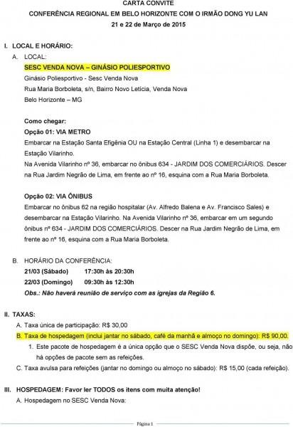 Carta convite conferÊncia regional em belo horizonte com o irmÃo