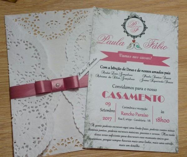 Convite rendado rosê no elo7