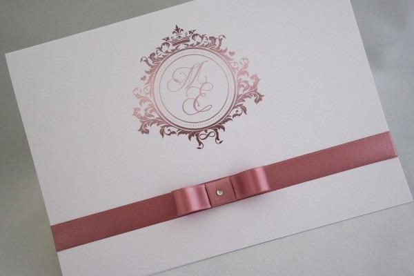Convite de casamento rosa cha rosê rosa seco barato no elo7