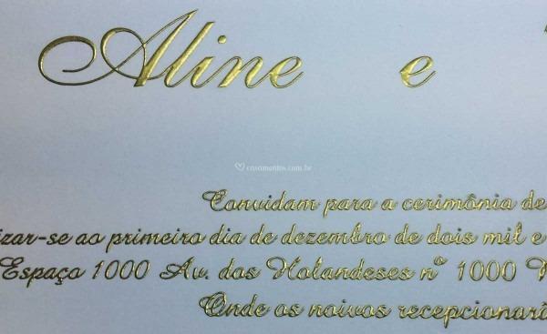 Relevo americano dourado de monet convites