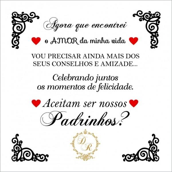 Texto para convite de padrinhos casamento bonito mensagem 14x14 cm