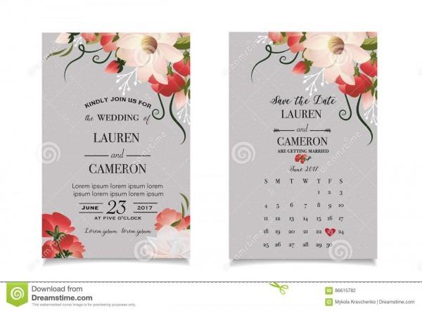 Vetor da caligrafia convite bonito do casamento com calendário e