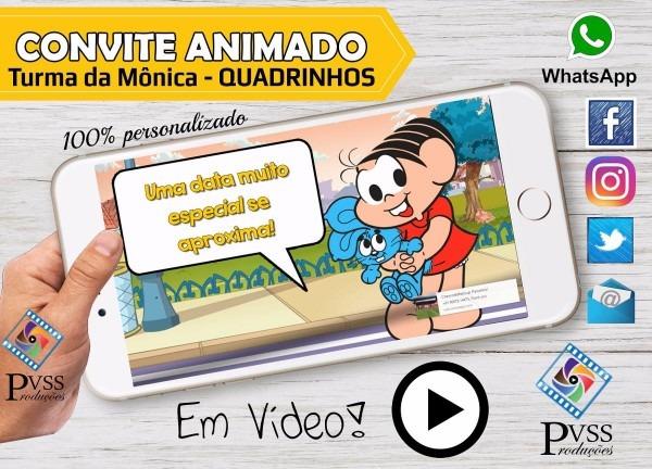 Video convite digital animado turma da mônica quadrinhos
