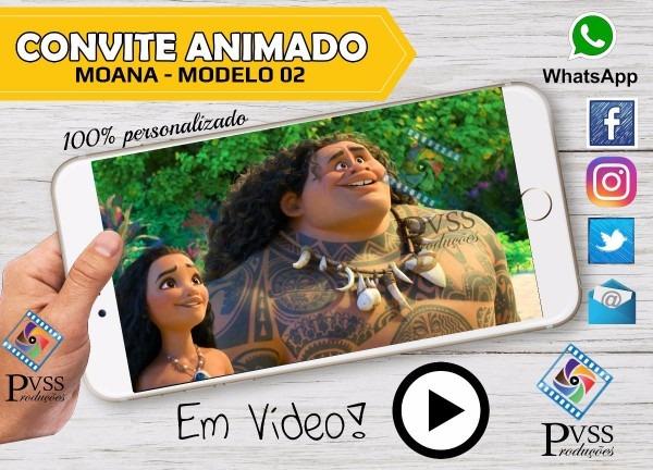 Video convite digital virtual animado da moana