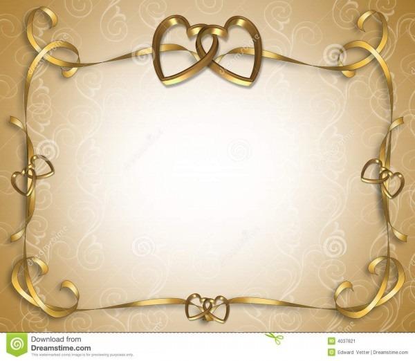 Wedding invitation golden hearts stock illustration