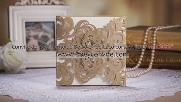 Convite de casamento do bolso lindo la o cortado laser wpl0002